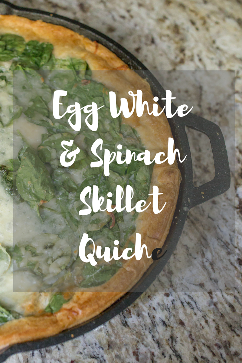Egg White & Spinach Skillet Quiche - baked in a cast iron skillet - healthy and delicious!