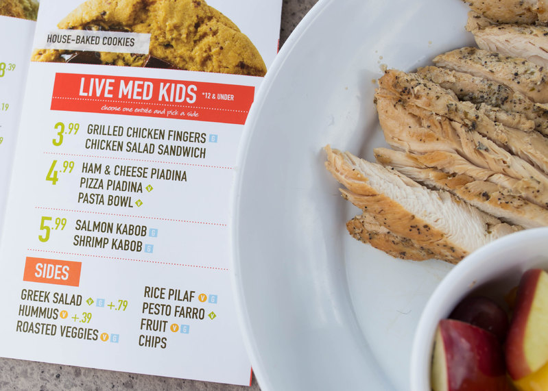 Amazing kids menu at Zoes Kitchen
