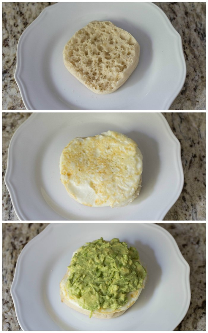 Oh yum! Avocado breakfast biscuit - an English muffin topped with fried egg white and an avocado mash - I'm so making this!